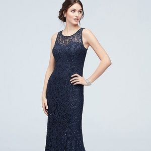 'NAVY' SEQUIN LACE TANK DRESS WITH CAPELET